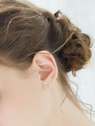 Tiny Crown Rotational ZIrcon 925 Silver Stud Earrings
