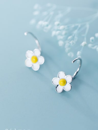 925 Sterling Silver With Platinum Plated Cute Flower Hook Earrings