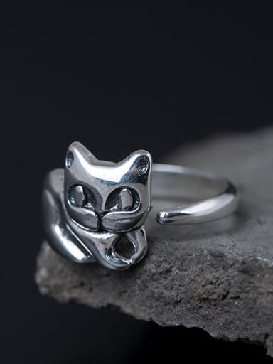 S925 Silver Cute Kitten Opening Statement Ring