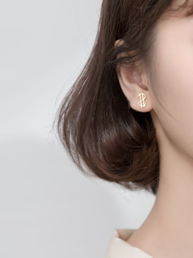 925 Sterling Silver With Gold Plated Simplistic Hollow Irregular Stud Earrings