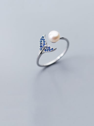 925 Sterling Silver With Platinum Plated Cute Irregular Free Size Rings