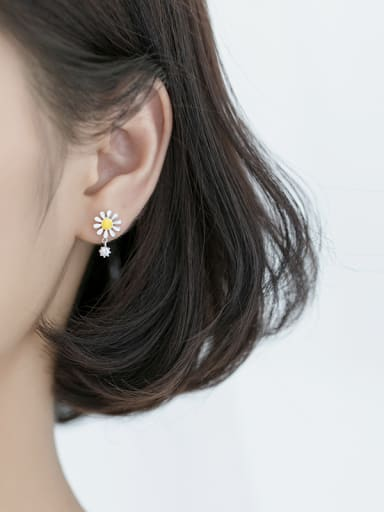 925 Sterling Silver With  Enamel Plated Cute Flower Stud Earrings