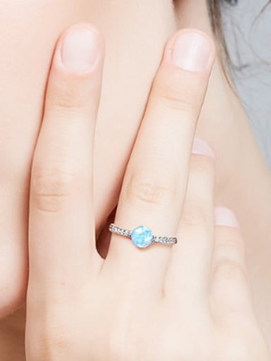 Fashion Opal stone Cubic Zirconias 925 Silver Ring