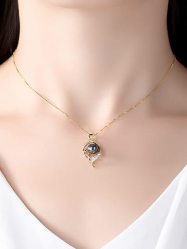 Sterling silver with AAA zircon natural freshwater pearl necklace