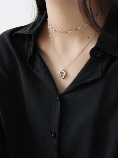 925 Sterling Silver With Silver Plated Simplistic Chain Necklaces