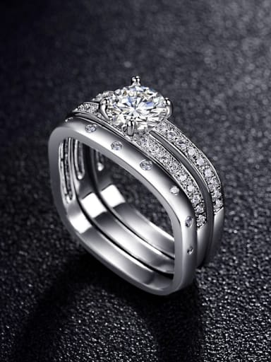 Square micro-inlay AAA zircon Combination ring