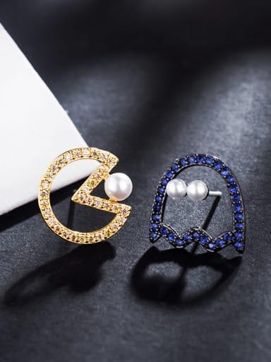 Bean Asymmetric Cartoon Imitation Pearl Micro-Inlay Zircon Earrings