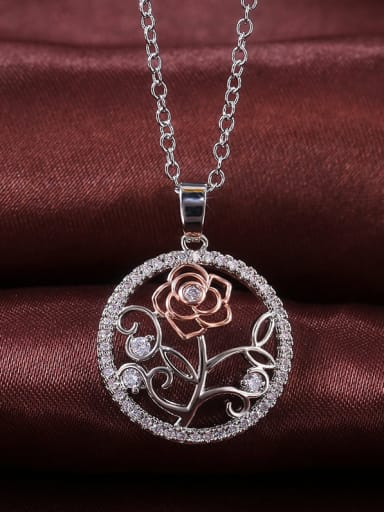 Copper With Platinum Plated Simplistic Flower Necklaces