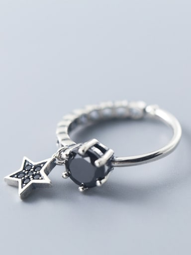 Thai Silver With Antique Silver Plated Personality Star Band Rings