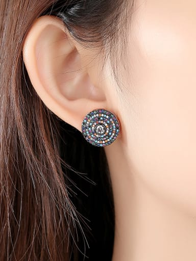 Copper With Gun Plated Delicate Round Stud Earrings