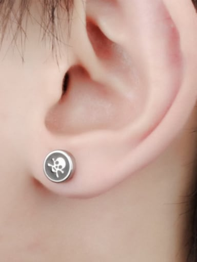 Punk style Tiny Skull Round Stud Earrings