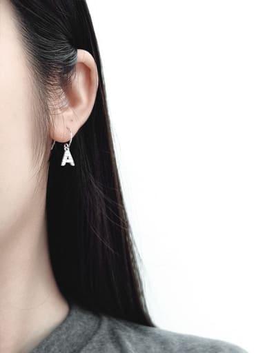 Personalized Cubic Zircon Letter A Silver Earrings
