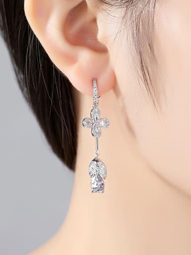 Copper With 3A cubic zirconia Delicate Flower Chandelier Earrings