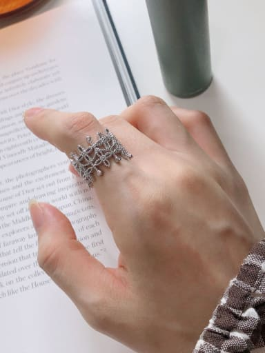 925 Sterling Silver With Antique Silver Plated Personality Irregular Midi Rings
