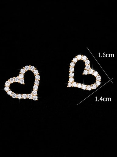 Copper With Cubic Zirconia Simplistic Heart Stud Earrings