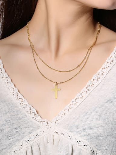 Stainless Steel With Gold Plated Simplistic Smooth Cross Multi Strand Necklaces