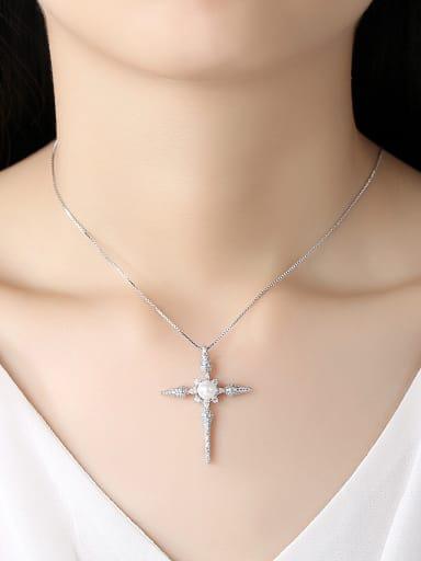 Copper With Cubic Zirconia Simplistic Cross Necklaces