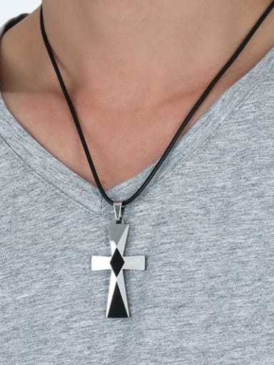 Fashionable Cross Shaped Artificial Leather Titanium Necklace