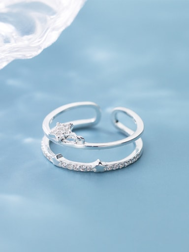 925 Sterling Silver With Platinum Plated Simplistic Star  Free Size Stacking Rings