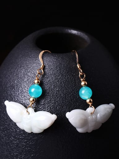 Creative Personality Jade Butterfly Hook Earrings