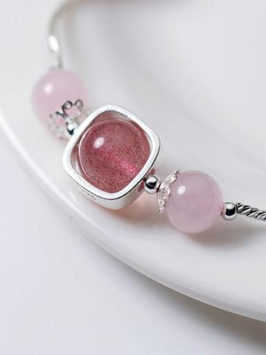 Elegant Leaf Shaped Pink Crystal S925 Silver Bracelet