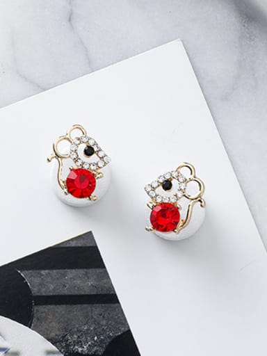 Alloy With Rose Gold Plated Cute Hollow Mouse Stud Earrings