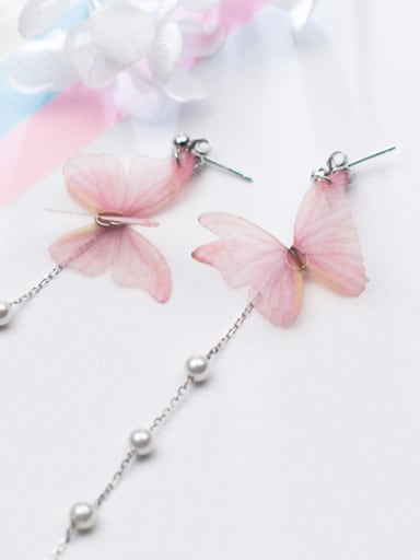 Temperament Pink Butterfly Shaped Artificial Pearl Drop Earrings