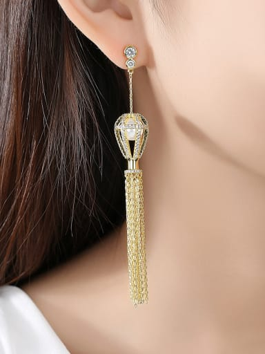 Copper With Gold Plated Trendy Chain Tassels  Earrings