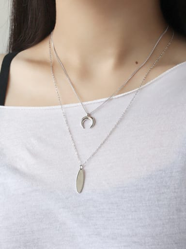 Sterling Silver simple geometric Moon Necklace