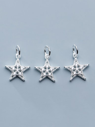 925 Sterling Silver With Cubic Zirconia Simplistic Star Charms
