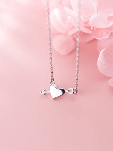 925 Sterling Silver With Cubic Zirconia  Cute Heart Necklaces