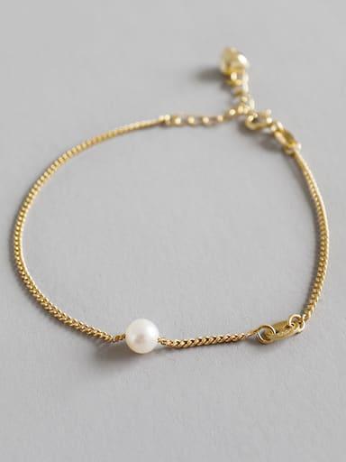 Pure silver fashion gilded fresh water pearl chain hand chain
