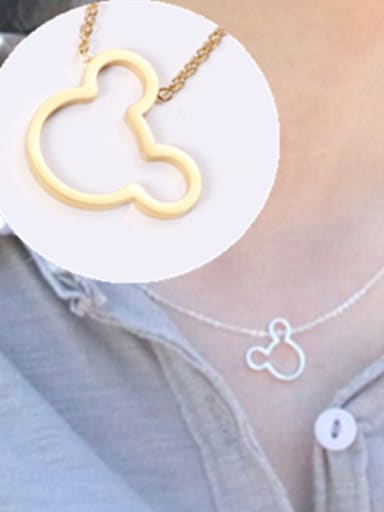 Titanium With Gold Plated Simplistic Mickey Mouse  Necklaces
