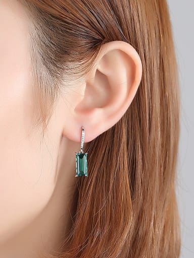 925 Sterling Silver With Glass stone  Simplistic Square Hook Earrings