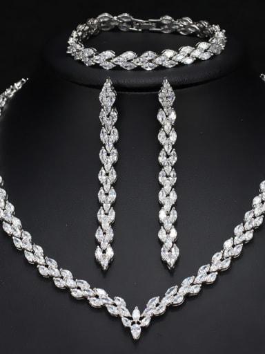 The Luxury Shine  High Quality Zircon Necklace Earrings bracelet 3 Piece jewelry set