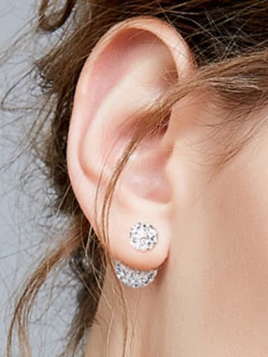 Fashion Shiny Cubic Zirconias-covered Beads 925 Silver Stud Earrings