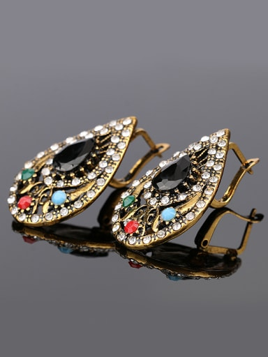 Water Drop shaped Resin stones Crystals Retro style Alloy Earrings