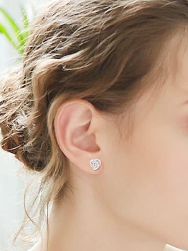 Shiny Little Heart Zirconias 925 Silver Stud Earrings