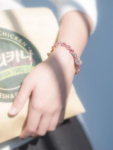 Fresh Pink Leaf Shaped Crystal S925 Silver Bracelet