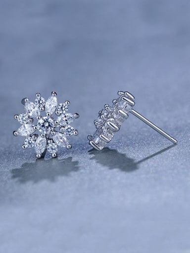 Flower Zircon Cluster earring