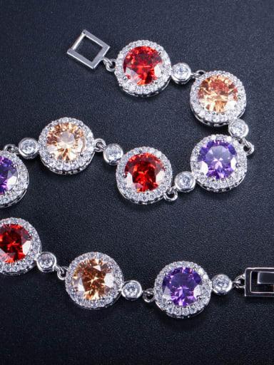 Copper inlaid AAA zircons concentric Bracelet
