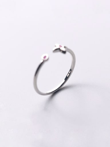 925 Sterling Silver With Silver Plated Personality Four-pointed star Free Size Rings