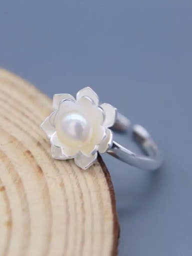 Temperament Flower Shaped Pearl Open Design S925 Silver Ring
