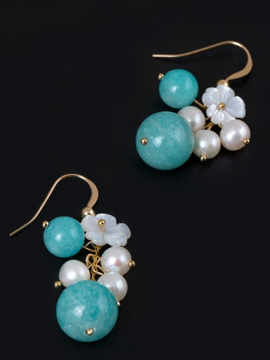 Ethnic style Freshwater Pearls Shell Flower Stone Beads 925 Silver Earrings