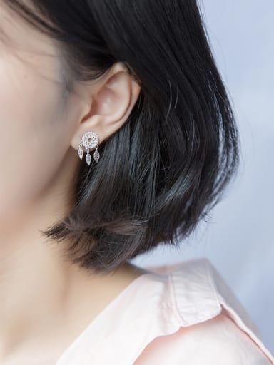 Elegant Geometric Shaped S925 Silver Rhinestone Drop Earrings