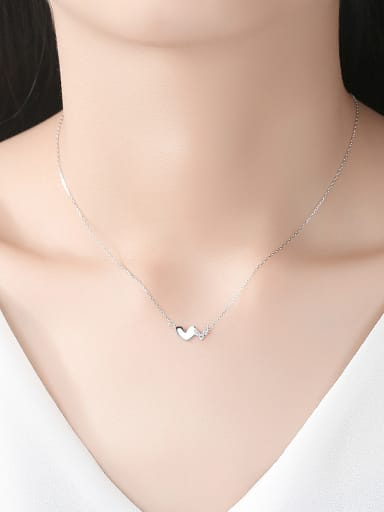 925 Sterling Silver With Cubic Zirconia Cute Heart Locket Necklace