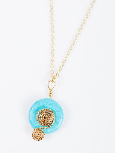 16K Gold Plated Round Gemstone Necklace