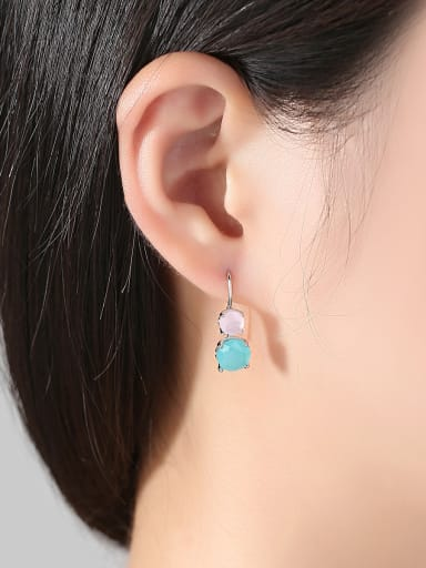 Main stone powder and green zircon fashion simple color Earring