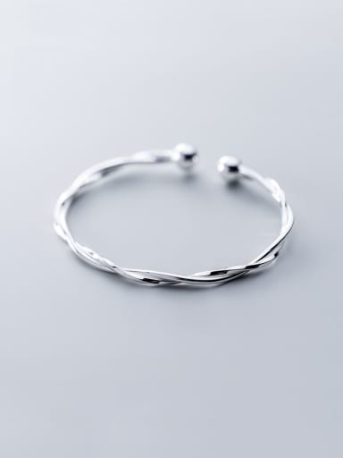 S990 pure silver  With Platinum Plated Simplistic Irregular Bangles