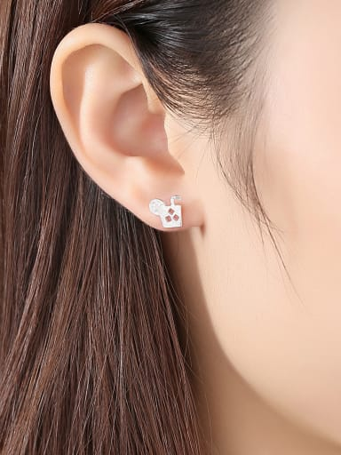 925 Sterling Silver With Smooth Simplistic Cola Cup Stud Earrings